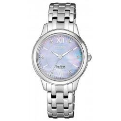 Women's Citizen Watch Lady Super Titanium EM0720-85Y Diamonds Mother of Pearl
