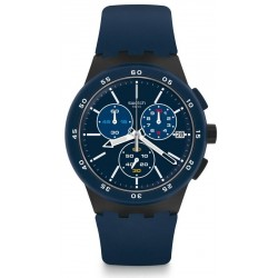 Men's Swatch Watch Chrono Plastic Blue Steward SUSB417 Chronograph