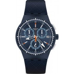 Men's Swatch Watch Chrono Plastic Gara In Blu SUSN410 Chronograph