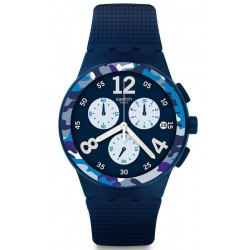 Men's Swatch Watch Chrono Plastic Camoblu SUSN414 Chronograph