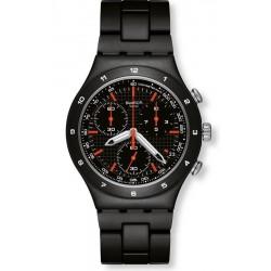 Men's Swatch Watch Irony Chrono Black Coat YCB4019AG Chronograph